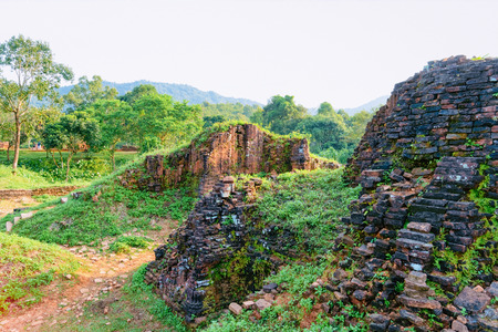 My Son Sanctuary and Hindu Temples near Hoi An, Asia in Vietnam. Heritage of Champa Kingdom. Myson History and Culture. Shiva city ruin. Vietnamese Museum. Hinduism Civilization on Holy Land. Editorial