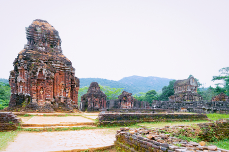 My Son Sanctuary and Hindu Temples near Hoi An in Vietnam in Asia. Heritage of Champa Kingdom. Myson History and Culture. Shiva city ruins. Vietnamese Museum. Hinduism Civilization on Holy Land. Editorial