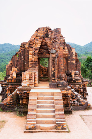 My Son Sanctuary and Hindu Temples near Hoi An in Asia in Vietnam. Heritage of Champa Kingdom. Myson History and Culture. Shiva city ruins. Vietnamese Museum. Hinduism Civilization on Holy Land.