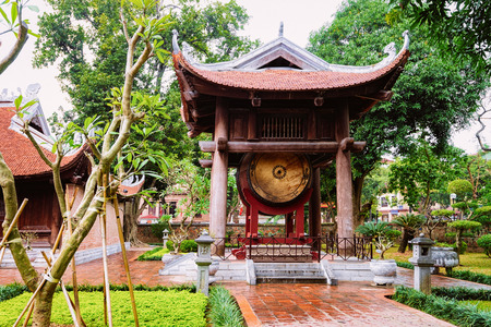 Courtyard at Temple of Literature in Hanoi in Southeast Asia in Vietnam. Temple of Confucius in Vietnamese capital. Street view in park at Asian Church in Ha Noi. Outdoor and architecture.