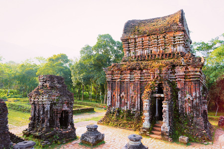 My Son Hindu Temple and Sanctuary Hoi An Vietnam in Asia. Heritage of Champa Kingdom. Myson History and Culture. Shiva city ruins. Vietnamese Museum. Hinduism Civilization on Holy Land. Editorial