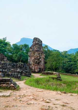 My Son Sanctuary and Hindu Temple near Hoi An in Vietnam, of Asia. Heritage of Champa Kingdom. Myson History and Culture. Shiva city ruins. Vietnamese Museum. Hinduism Civilization, on Holy Land.