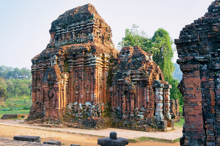 My Son Sanctuary and Hindu Temples near Hoi An in Vietnam, of Asia. Heritage of Champa Kingdom. Myson History and Culture. Shiva city ruins. Vietnamese Museum. Hinduism Civilization, on Holy Land.