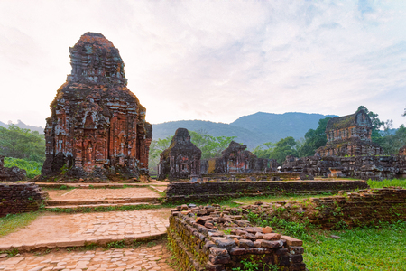 My Son Sanctuary with Hindu Temples near Hoi An in Vietnam of Asia. Heritage of Champa Kingdom. Myson History and Culture. Shiva city ruins. Vietnamese Museum. Hinduism Civilization on Holy Land.
