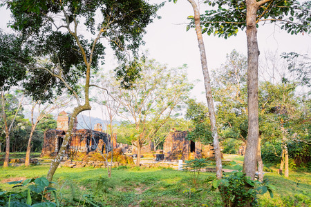 Morning at My Son Sanctuary and Hindu Temple near Hoi An, Vietnam, Asia. Heritage of Champa Kingdom. Myson History and Culture. Shiva city ruins. Vietnamese Museum. Hinduism Civilization on Holy Land