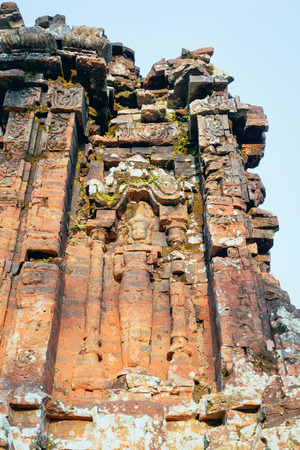 My Son Sanctuary and Hindu Temple near Hoi An, Asia in Vietnam. Heritage of Champa Kingdom. Myson History and Culture. Shiva city ruin. Vietnamese Museum. Hinduism Civilization on Holy Land.