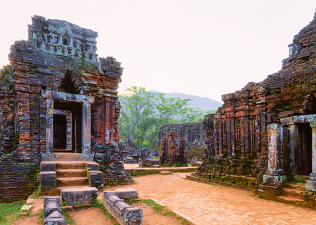 My Son Sanctuary with Hindu Temple near Hoi An in Vietnam of Asia. Heritage of Champa Kingdom. Myson History and Culture. Shiva city ruins. Vietnamese Museum. Hinduism Civilization on Holy Land.