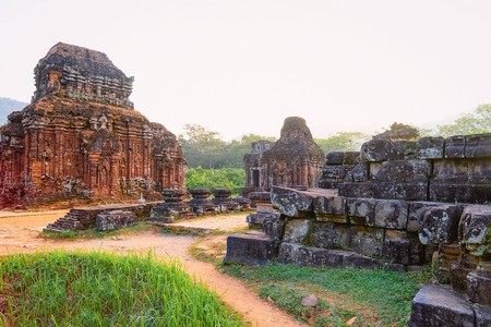 My Son Sanctuary with Hindu Temples near Hoi An in Vietnam in Asia. Heritage of Champa Kingdom. Myson History and Culture. Shiva city ruins. Vietnamese Museum. Hinduism Civilization on Holy Land. Editorial