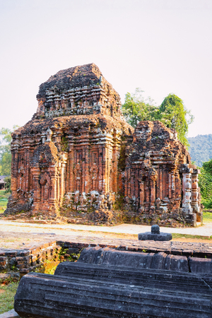 My Son Sanctuary and Hindu Temples near Hoi An in Asia, in Vietnam. Heritage of Champa Kingdom. Myson History and Culture. Shiva city ruins. Vietnamese Museum. Hinduism Civilization on Holy Land. Editorial
