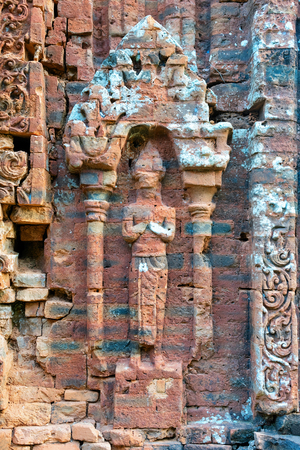 Figure of My Son Sanctuary and Hindu Temple near Hoi An in Vietnam in Asia. Heritage of Champa Kingdom. Myson History and Culture. Shiva city ruins. Vietnamese Museum. Hinduism Civilization