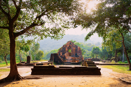 Sunset at My Son Sanctuary and Hindu Temples near Hoi An, Vietnam, Asia. Heritage of Champa Kingdom. Myson History and Culture. Shiva city ruins. Vietnamese Museum. Hinduism Civilization on Holy Land