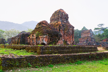 My Son Sanctuary with Hindu Temples near Hoi An in Vietnam, of Asia. Heritage of Champa Kingdom. Myson History and Culture. Shiva city ruins. Vietnamese Museum. Hinduism Civilization, on Holy Land.