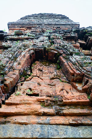 My Son Sanctuary and Hindu Temple near Hoi An, Asia, in Vietnam. Heritage of Champa Kingdom. Myson History and Culture. Shiva city ruin. Vietnamese Museum. Hinduism Civilization on Holy Land. Editorial