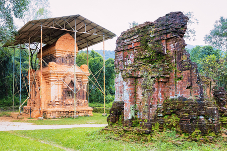 My Son Sanctuary and Hindu Temple near Hoi An in Asia in Vietnam. Heritage of Champa Kingdom. Myson History and Culture. Shiva city ruins. Vietnamese Museum. Hinduism Civilization on Holy Land.