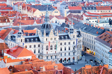 Cityscape with Rathaus on Hauptplatz and Town Hall square in Old city of Graz in Austria. Styria in Europe. Rooftop view.