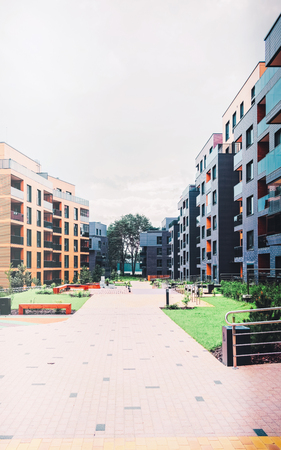 EU European Quarter of apartment buildings. With outdoor facilities.