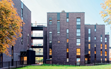 EU Glass architecture of modern residential apartment building. And outdoor facilities.