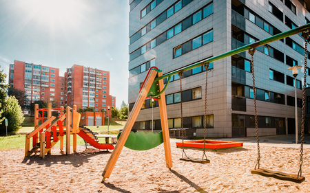 EU Children playground equipment in the residential house quarter in Baltupiai district, Vilnius, Lithuania.