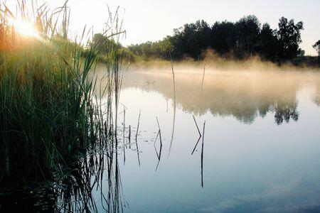 Amanecer en el río y niebla matutina. Niebla sobre el agua y la reflexión del bosque de árboles en el lago. Naturaleza y paisaje. Puesta de sol con sol que acaba de aparecer en el cielo azul. Verano en el campo. Paisaje brumoso y brumoso Foto de archivo