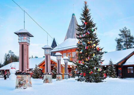 Arctic Circle lanterns at Santa Office in Santa Village Lapland, Rovaniemi, Lapland, Finland, on Arctic Circle in winter. Reklamní fotografie