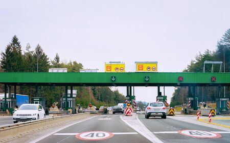 Cars at Toll booth on road in Slovenia