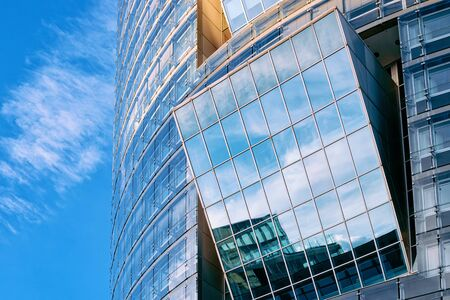 Glass Business office building architecture in Modern City at Vienna at Austria