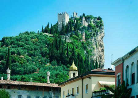 Landscape with Castello di Arco on rock at Garda lake Stock fotó