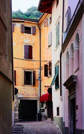 Cityscape at Arco town center near Garda lake of Trentino of Italy. Street of Old city in Trento near Riva del Garda. Buidling architecture. Travel and tourism