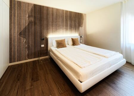 Bedroom interior with modern design furniture of hotel Italy