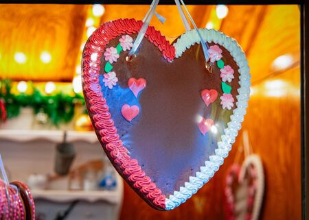 Heart shape Gingerbread cookie in Christmas market in Germany Stock Photo