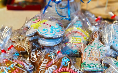 Gingerbread as souvenirs on Vilnius Christmas Market Imagens