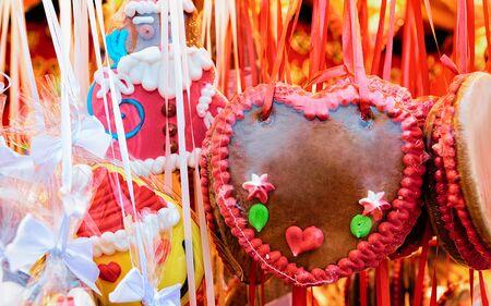 Gingerbread hearts cookies Christmas Market at Charlottenburg Palace Berlin Imagens