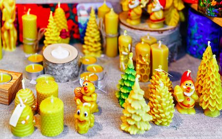 Decorated festive candles displayed sale at Riga Christmas market new