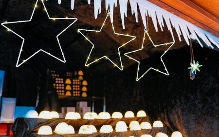 Christmas light star decorations at Christmas Market Town Hall new Stock Photo
