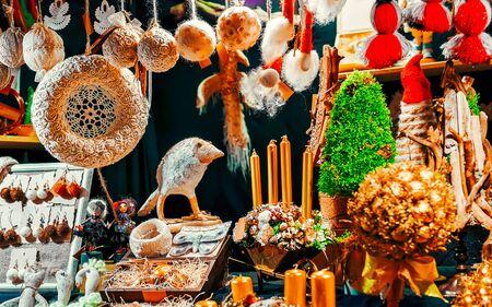Decorations on Christmas market at Riga new Stock fotó