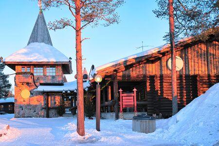 Santa Claus Main Post Office at Lapland Scandinavia sunset