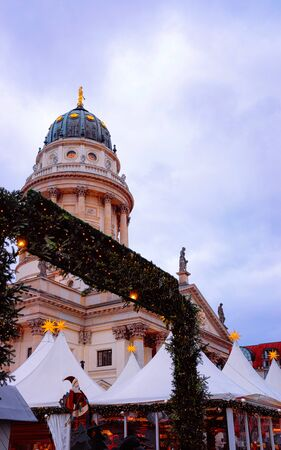Evening Christmas market at Gendarmenmarkt in Berlin EU new