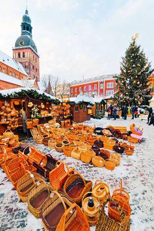 Handmade straw basket souvenirs displayed sale Riga in Latvia