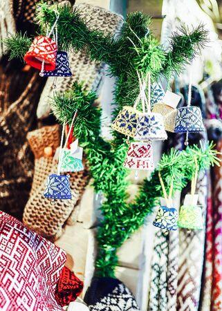 Small ornamental decorations on branch during Riga Christmas market Stock fotó