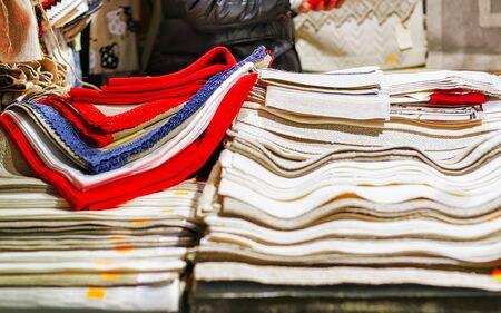 Handmade linen tablecloths at Riga Christmas market stand new Stock fotó