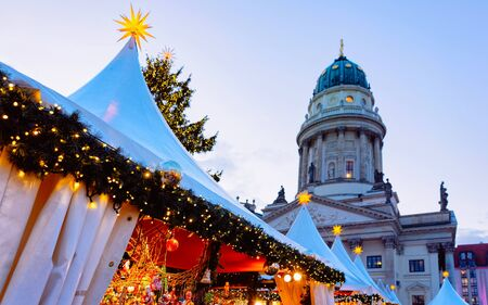 Christmas Market at Gendarmenmarkt in Winter Germany Berlin new Stock Photo