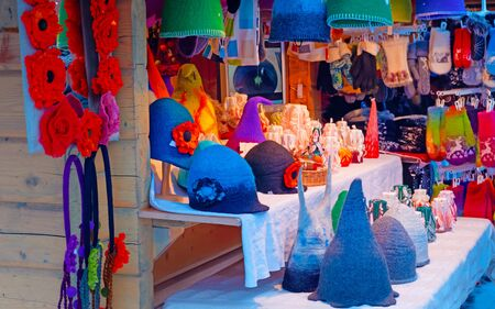 Christmas market stall at Dome square in Old Riga new