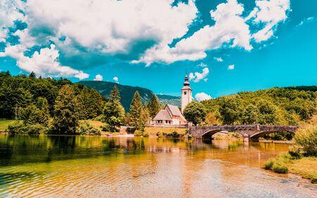 Scenery and Church St John Baptist Bohinj Lake of Slovenia