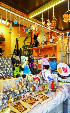 Different small souvenirs and accessories at Riga Christmas market new