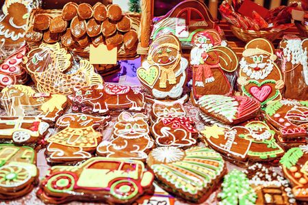Colorful gingerbreads with various icing Riga Christmas Market Stock fotó
