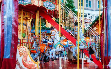 Carousel in Christmas Market at Alexanderplatz Winter Berlin Germany new