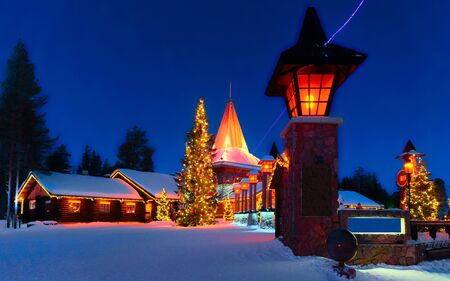 Arctic Circle lanterns Santa Office at Santa Village evening new