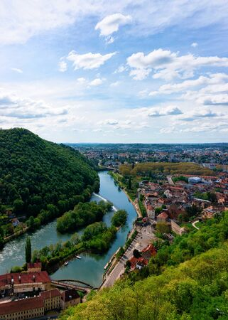 Landscape from Citadel in Besancon and River Doubs at Bourgogne Stock Photo