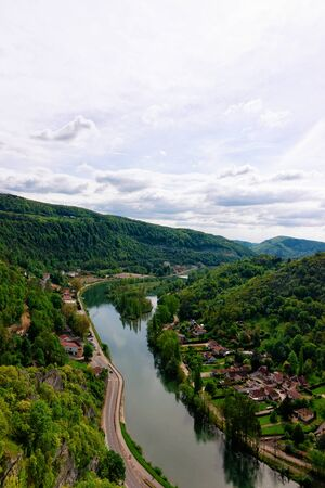 Landscape from Citadel of Besancon and River Doubs at Bourgogne