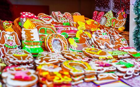 Handmade colorful gingerbreads displayed at Christmas market in Riga